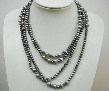 Unique Pearls jewellery Store 85 inches Long Pearl Necklace Gray Color 5-8mm Round Genuine Freshwater Pearl Necklace