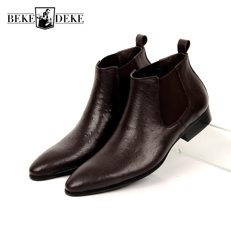 Brand Fashion Mens Ankle Boots Genuine Leather Comfortable Brown Black Pointed Toe Wedding Men Dress Shoes Chelsea Boots 37-44