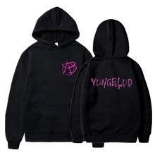 Yungblud стиль Харадзюку женский белый и розовый топ с капюшоном