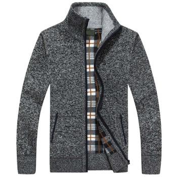 2019 nowa jesienno-zimowa męska sweter ciepły kaszmirowy wełniany rozpinany sweter męski płaszcz sukienka dzianina casualowa odzież męska tanie i dobre opinie LEGIBLE Stałe MANDARIN COLLAR Poliester Sweatercoat Kieszenie Na co dzień Pełna REGULAR Komputery dzianiny Grube zipper