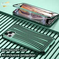 Funda magnética de Metal KISSCASE para iPhone 11 Pro Max XS XR funda magnética de vidrio de doble cara para iPhone 11 X XS Max 7 8 Plus Carcasa