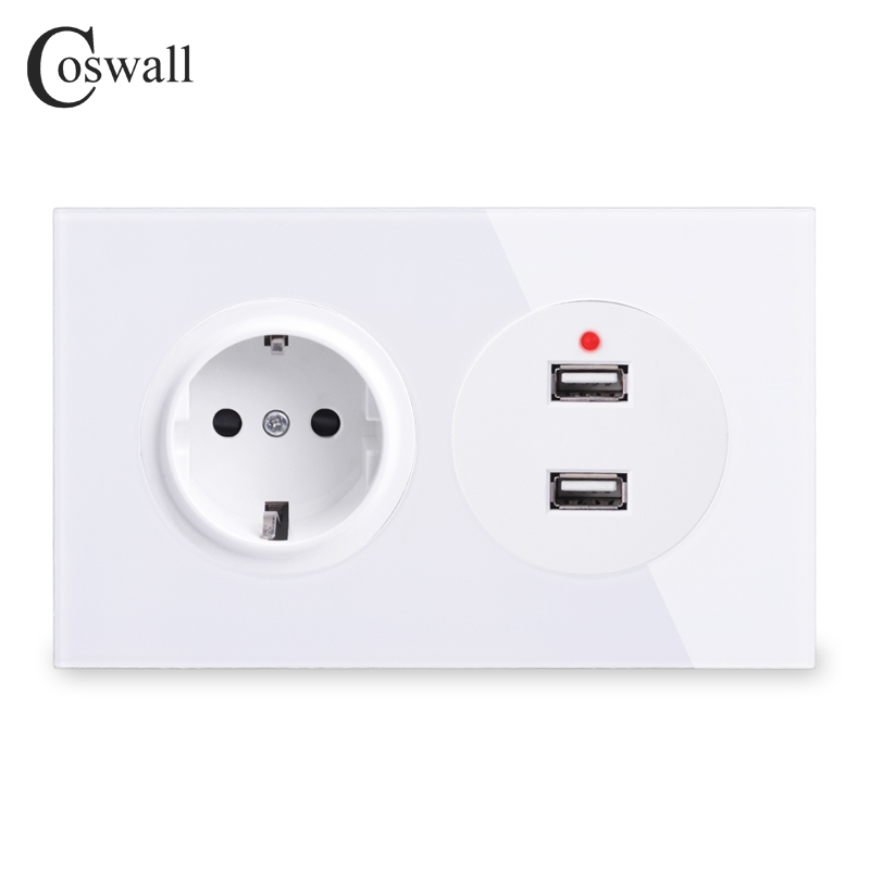 Coswall Crystal Tempered Pure Glass Panel 16A EU Standard Wall Power Socket With Dual USB Charging Port 2.4A Output R11 Series