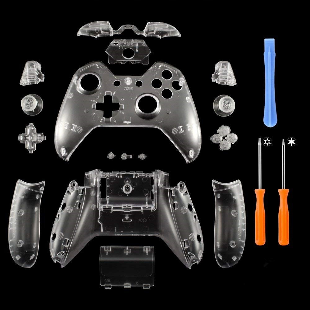 Matte Clear Controller Housing Shell Case Cover Full Set Faceplates Replacement Kits Buttons For Microsoft Xbox One W/ 3.5 Port