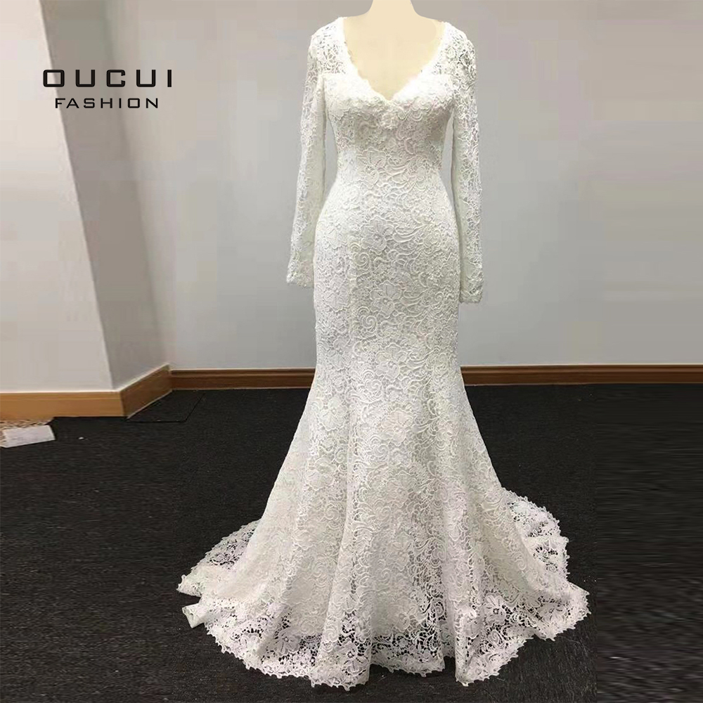 Vintage Lace Plus Size Long Mermaid Wedding Dress 2019 Vestido De Noiva Long Sleeve Wedding Dresses Court Train Elegant OL103598