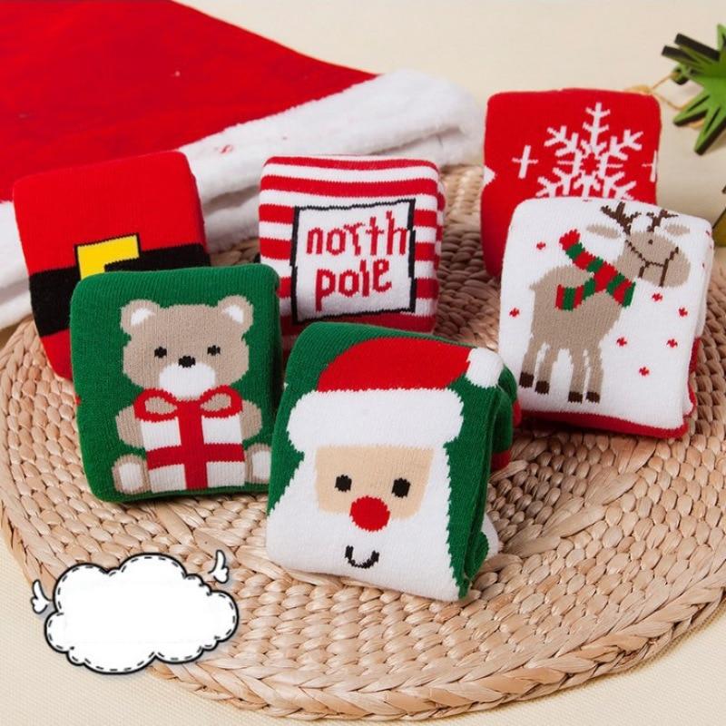 1 Pair Autumn Winter Christmas Gift Baby Kids Cotton Warm Thick Socks Floor Socks Toddler Boys Girls Cute Cartoon Elk Socks