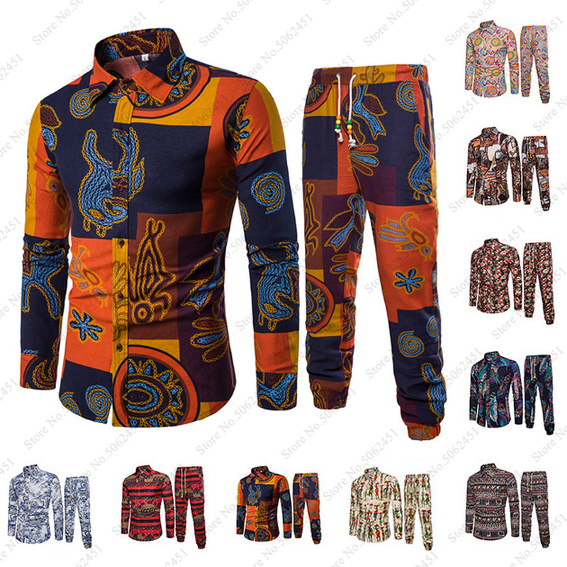 African Clothes Bazin Riche Danshiki Men Printed Blouse Tshirt Sport Harem Pants Fashion Streetwear Indian Tee Tops Clothing Set