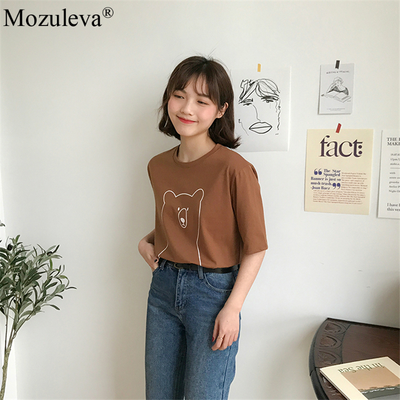 H6e8cb643bcec4a4a8d1552792178743cA Mozuleva 2020 Chic Cartoon Bear Cotton Women T-shirt Summer Short Sleeve Female T Shirt Spring White O-neck Tees 100% Cotton