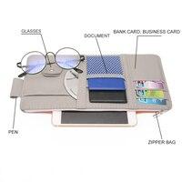 Zíper multifuncional titular viseira de sol do carro guarda-sol caso de armazenamento interior organizador caneta cartões saco da moeda pasta carteira bolsa clipe