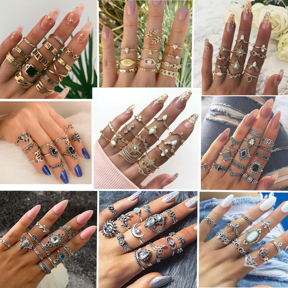 30 styles Bohemian Rings Crystal Star Crown Cross Snake Drops Elephant Geometry Gold Ring Set Personality Lady Wedding Jewelry|Rings|   - AliExpress