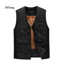 Coat Men Thicken Clothing Jacket Winter Vest Work Cold-Protection Cashmere Black Business