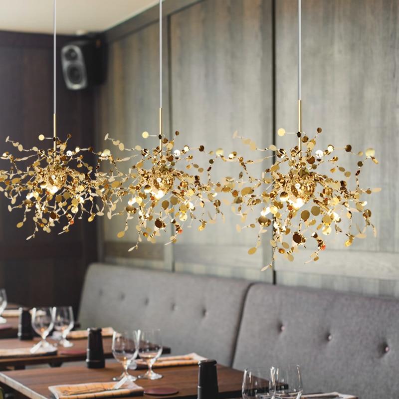G9 Kreative LED Anhänger Licht Schlafzimmer Esszimmer Bar Edelstahl Anhänger Lampe Goldene oder Chrom Nordic Zweig Kunst Leuchten