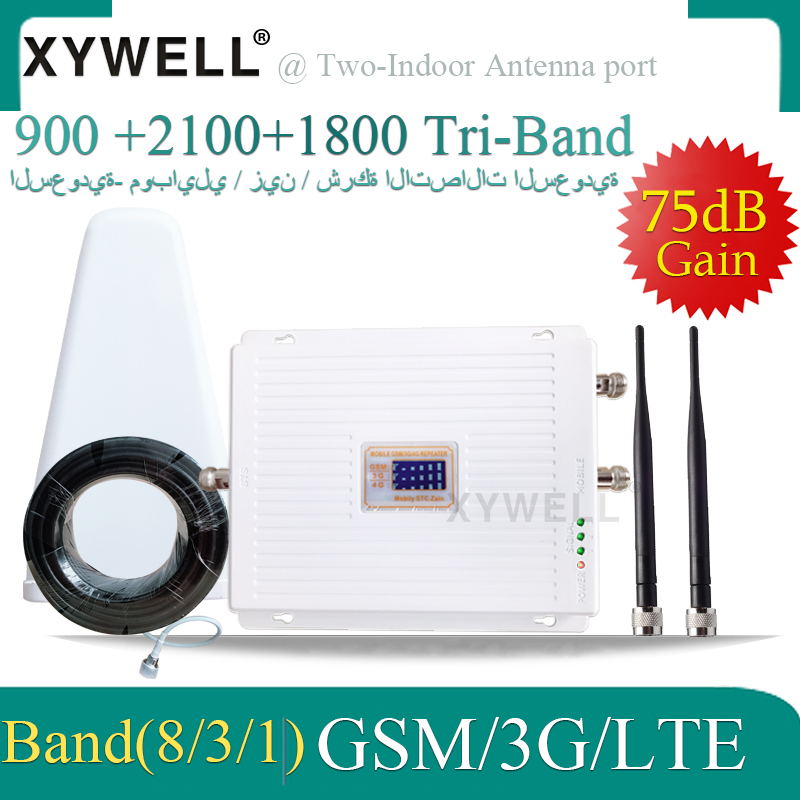 High Gain 4G Cellular Amplifier <font><b>900</b></font> 1800 <font><b>2100</b></font> Tri-Band <font><b>Booster</b></font> 2G 3G 4G LTE 1800 Cellular <font><b>Signal</b></font> Amplifier Cell Phone Repeater image