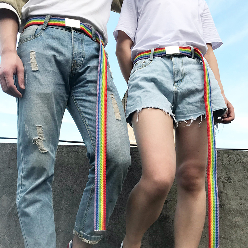 Fahion Rainbow Color Strap Couple Belt Thin Canvas Men Women Belt Waistband Iron Square Automatic Buckle Mirror 2019 New Cinto