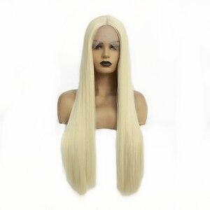 Natural Longa Reta de Seda Loira Cor Do Cabelo #613 Lace Front Wigs Resistente Ao Calor Perucas de Cabelo Sintético para As Mulheres 24 polegada