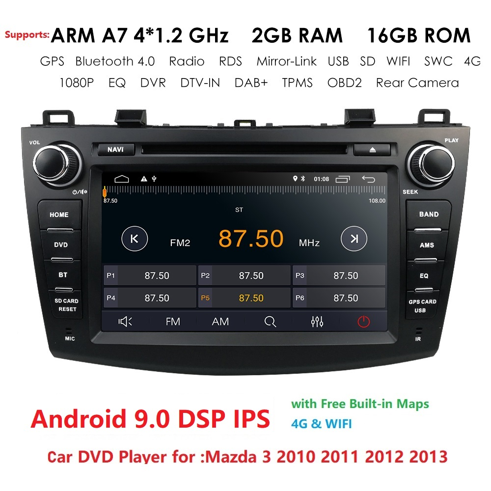 New 8 Android9.0 Car DVD Player for Mazda 3 Mazda3 2010-2013 with BT 4G Wifi Radio GPS 2GRAM SWC RDS DVR DAB DTV Mirror-Link image