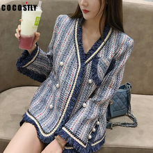 Winter Blue White Striped Tweed Blazer Women Long Sleeve V Neck Elegant Double B