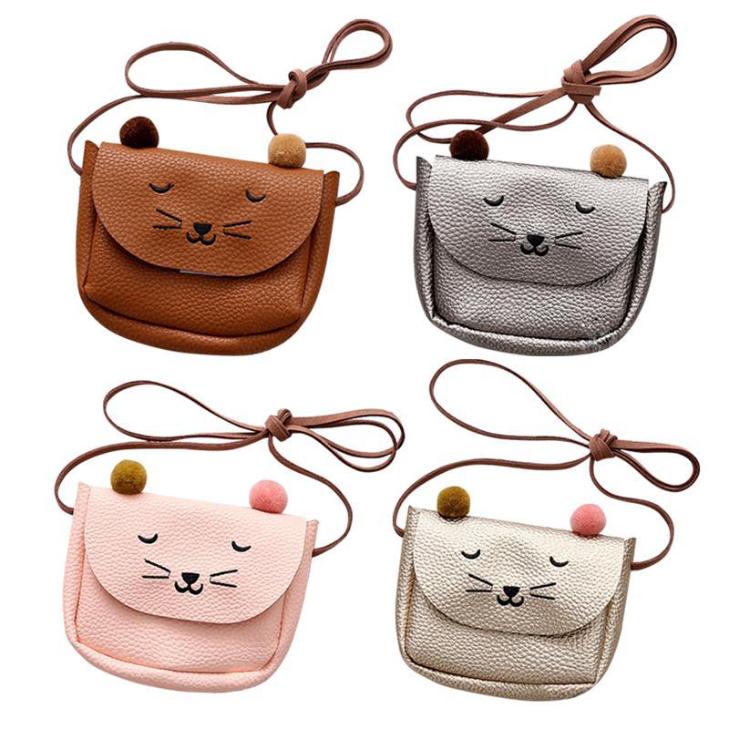PinShang Mini Cute Cat Ear Shoulder Bag Kids All-Match Key Coin Purse Cartoon Lovely Messenger Bag