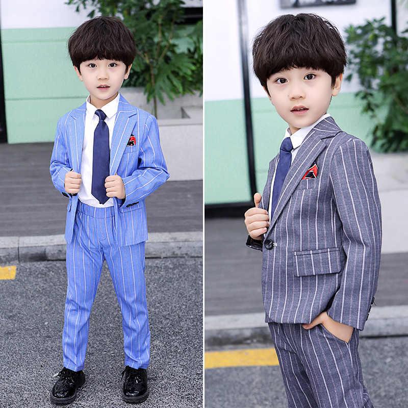 Комплект из 2 предметов для мальчиков, в полоску, белый и черный цвета, торжественные костюмы с платьем на свадьбу, повседневная одежда, комплекты с курткой, облегающий наряд