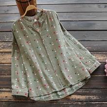7251 New Spring Women Shirts Loose Literary Fresh V-Neck Plaid Pullover Tops Cot