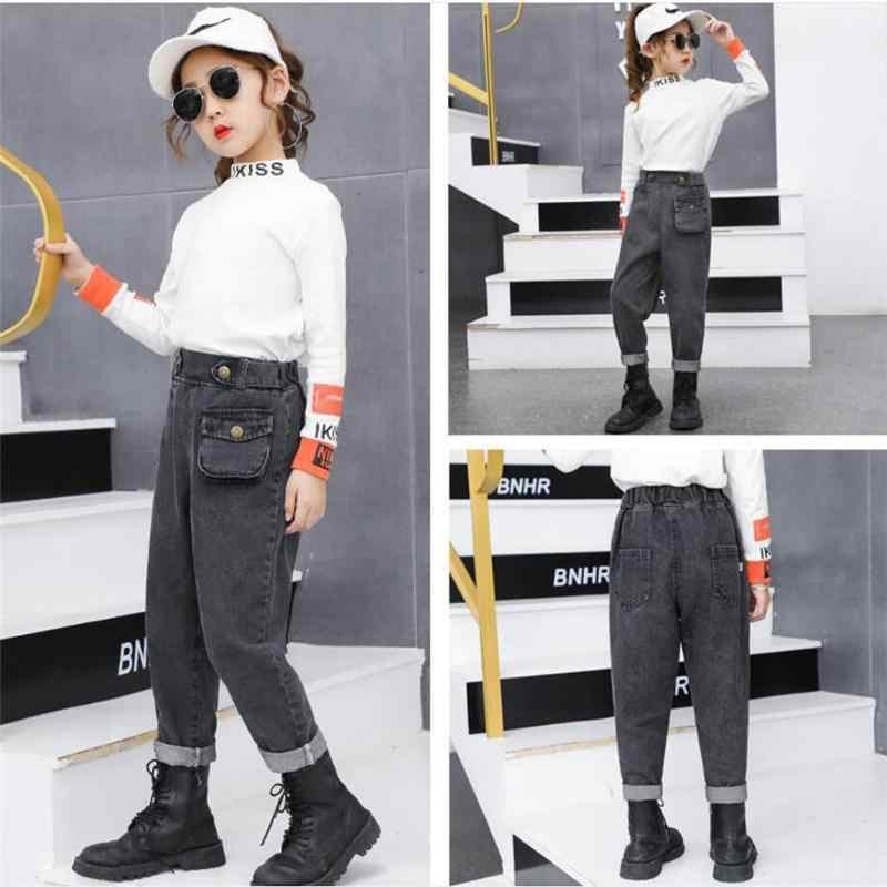 2020 sonbahar kış yeni moda genç kız artı kadife kot pantolon çocuklar yüksek bel polar kalınlaşmak sıcak kot pantolon K145