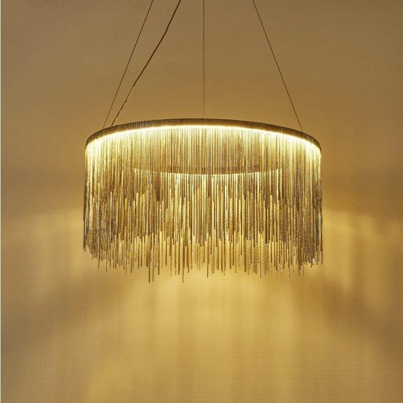 Işıklar ve Aydınlatma'ten Kolye ışıkları'de Postmodern sözleşmeli püskül alüminyum zincir droplight lüks oturma odası yemek odası atmosfer villa droplight title=