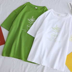 T-shirt Women Printed Couples O-neck Half Sleeve Daily Trendy Summer Leisure All-match Loose Chic Womens Tshirt Large Size 3XL
