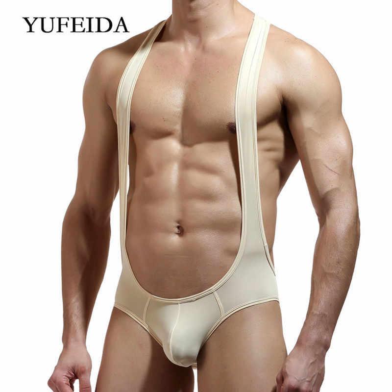 Men/'s Jumpsuits Transparent Jumpsuits One Piece Stylish Briefs Bodysuit