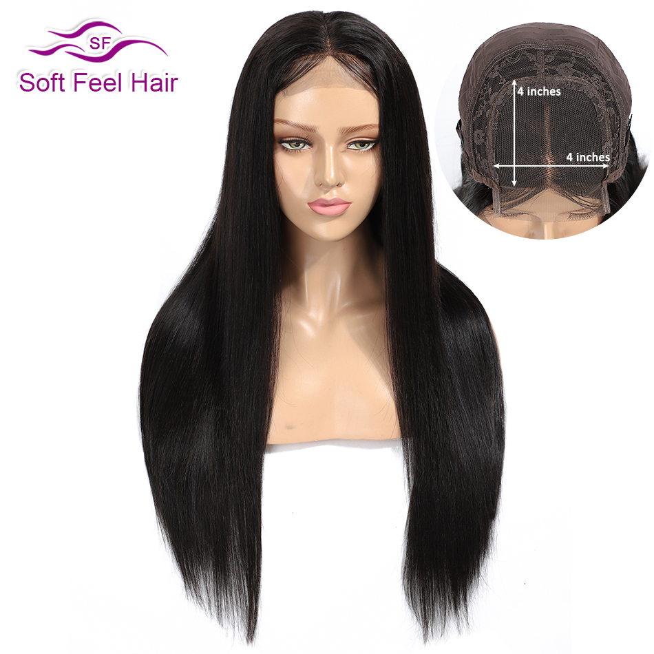 Soft Feel Hair 4*4 Lace Closure Human Hair Wigs Pre Plucked Brazilian Wigs For Black Women 1B Remy Lace Closure Wig Middle Part