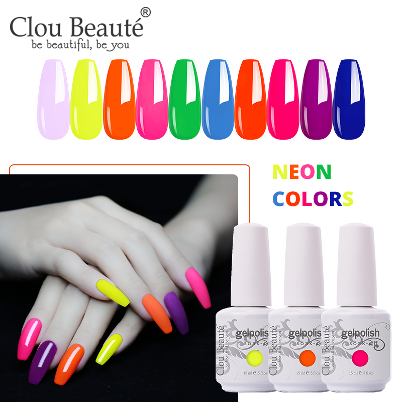 Clou Beaute Neon Color Gel Nail Polish 226Colors 15ml Soak Off Vernis UV LED Gel Varnish Soak Off Base and Top Gel Polish(China)
