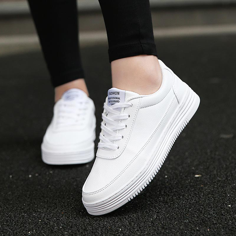 Large Size Women's Sneakers Leather PU Women's Sport Shoes Men Running Shoes Women Sports Shoes 2019 Scarpe Donna White A-382