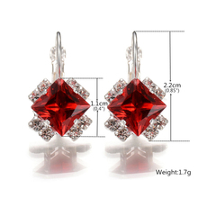 FSUNION Newest Stone Rhinestones White Red Square Crystal Drop Earrings For Women Statement Wedding Jewelry Pendientes Mujer