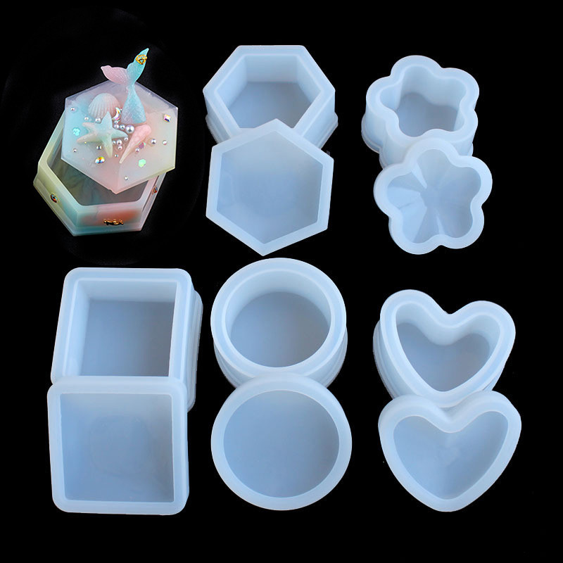 SNASAN Storage Box Flower Heart Hexagon Shape Resin Silicone Mould Jewelry Making DIY Tool UV Epoxy Resin Box Silicone Mold