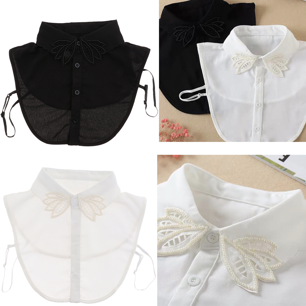 Women Chiffon Embroidered Pearl Beads False Collar Half Shirt Blouse Detachable Bib