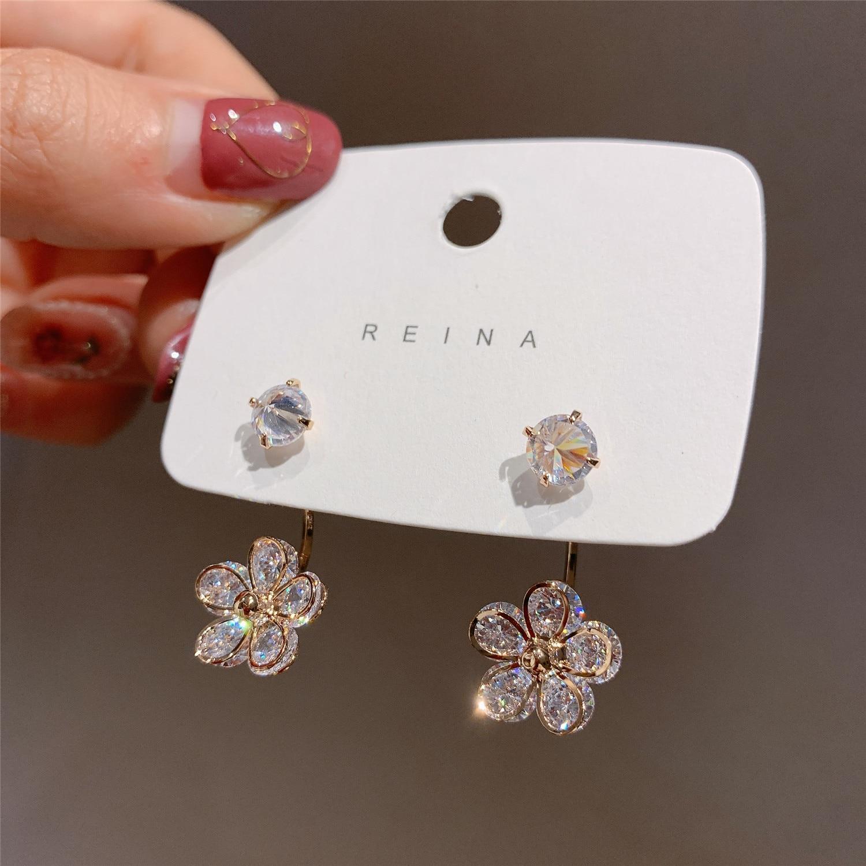 2020 Korean New Design Fashion Jewelry Hook Zircon Flower Earrings Elegant Women's Daily Wild Earrings