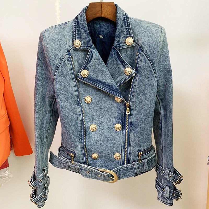 HIGH STREET Newest 2021 Designer Fashion Women's Lion Buttons Denim Motorcycle Biker Jacket