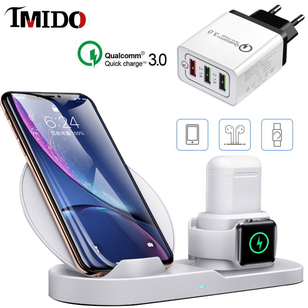 3 IN 1 Best Wireless Charger Stand for iPhone 11 Pro Max 8 AirPods Watch Series 4/3 QC3.0 Fast Charger For Samsung Huawei Xiaomi