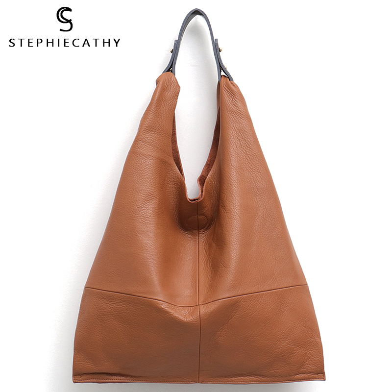 SC Casual Women Hobo Bag Soft Genuine Cow Leather Fashion Shoulder Bags Female Large Tote Bucket Shopping Handbag&Liner Bag
