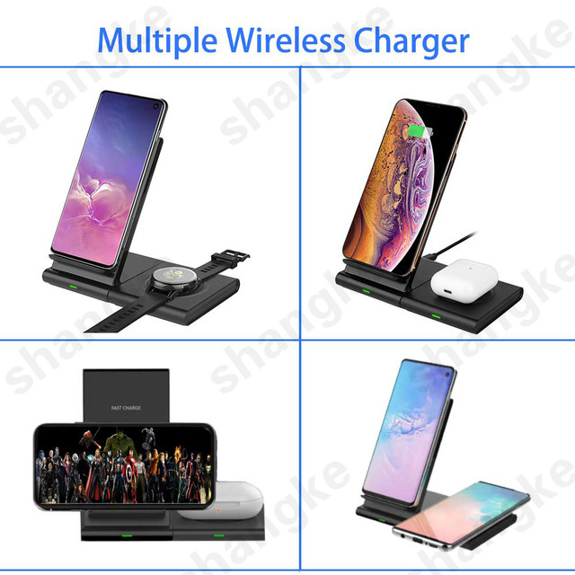 Wireless Charger for Samsung Galaxy Watch 42m/ 46mm S2 S3 S4 iPhone Xs X Galaxy S10 S9 S8 Mobile Phone Wireless Charger Pad 10W