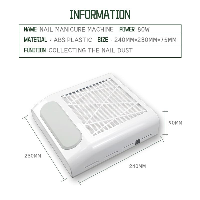 80 Вт ногтей пылесборник вентилятор пылесос, машинка для маникюра, инструменты с фильтром сильный Мощность инструмент искусства ногтя пылесос 2