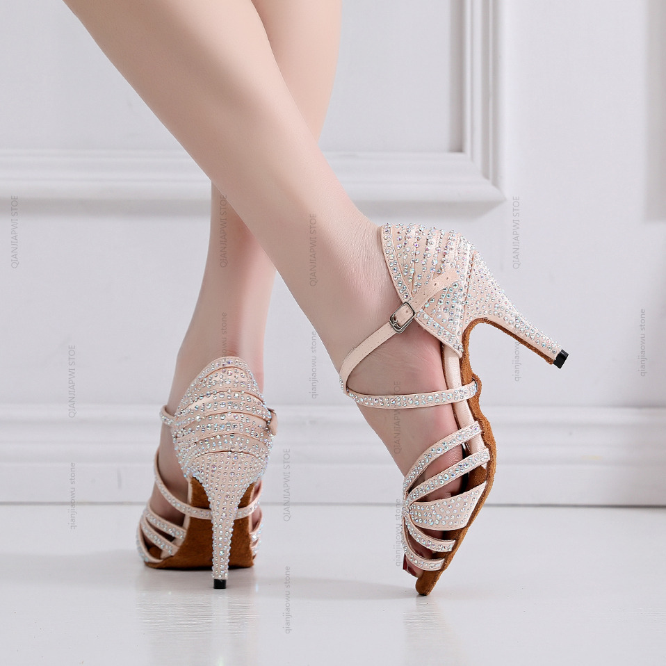 Hot Sale Jazz Salsa Ballroom Latin Dance Shoes For Dancing Women Urban Sexy Waltz Pole Latina With Heels Skin Rhinestones Sandal