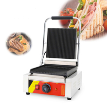 Commercial Electric Stripe Contact Grill Panini Press Plates Sandwich Beaf Meat Burger Griddle