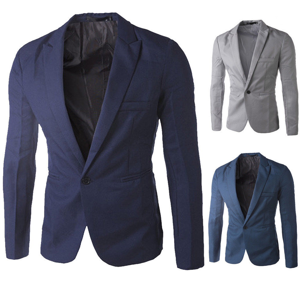 Men's Suit Men's Jacket Men's Formal Wear Casual Solid Color Blazer