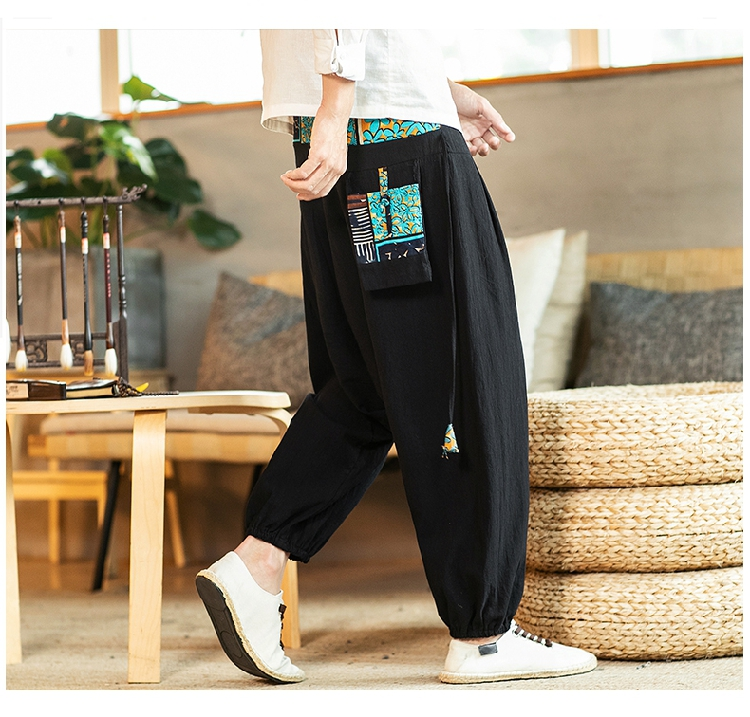 Sinicism Store Chinese Cross-Pants Men 2020 Autumn Oversize Fashion Mens Patchwork Button Pants Male Wide-legged Loose Pants 48