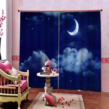 Starry Sky with Half Moon in Scenic Cloudscape Decor Shower Curtain for living room bedroom blackout curtain(China)