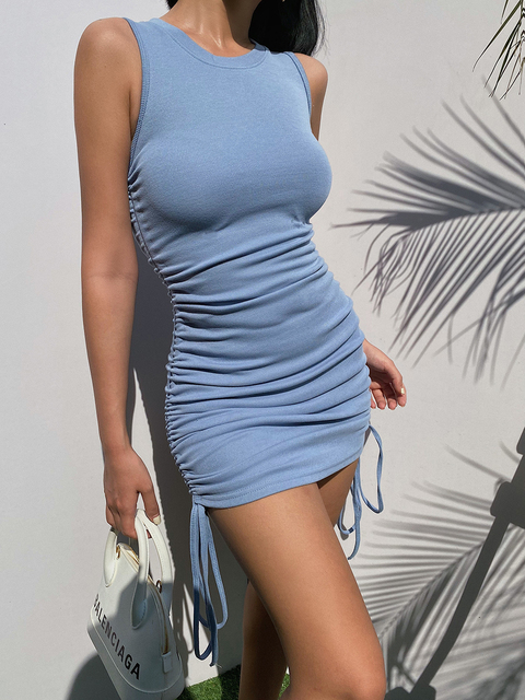 Femme été sans manches drapé bodycorn mini robe