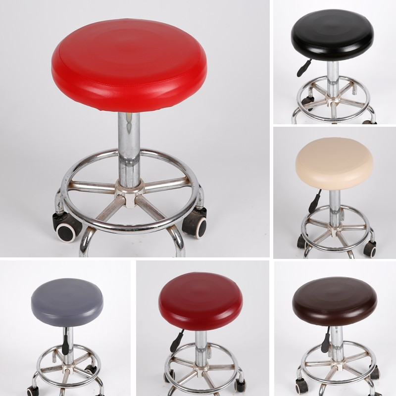 New Elastic PU Leather Round Stool Chair Cover Waterproof Pump Chair Protector Bar Beauty Salon Small Round Seat Cushion Sleeve