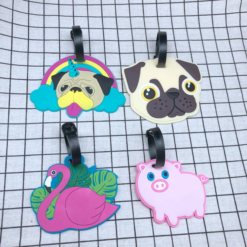 Creative Animal Flamingo Luggage Tags Portable Silica Gel Suitcase ID Address Holder Baggage Boarding Label Travel Accessories
