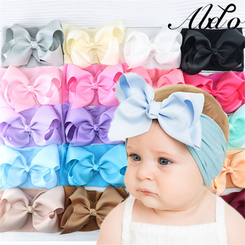 цена на ABDO Elastic Baby Girl Accessories Solid Baby Headband Toddler Infant Solid Bow Knot Hairband Kids Headwear Bebes Accessories