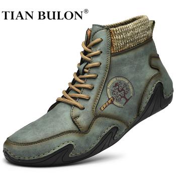 Skórzane buty męskie zimowe z futrem Super ciepłe buty na śnieg mężczyźni buty zimowe na co dzień trampki wysokie góry zachodnie botki wodoodporne tanie i dobre opinie TIAN BULON BUTY NA ŚNIEG Z dwoiny ANKLE Stałe Pluszowe Plush okrągły nosek RUBBER Zima Niska (1 cm-3 cm) Botas hombre Western boots Winter shoes men Bota masculina