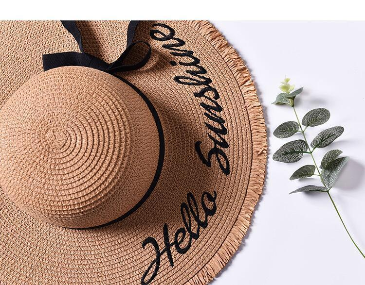 H6e8f210f3a9740728447215db82a2d66e - Handmade Weave letter Sun Hats For Women Black Ribbon Lace Up Large Brim Straw Hat Outdoor Beach hat Summer Caps Chapeu Feminino